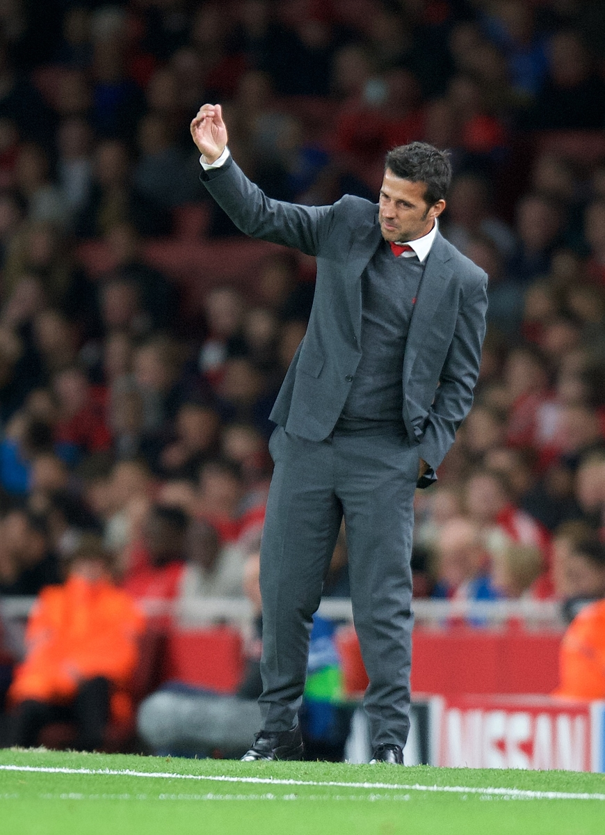 Manager Marco Silva of Olympiakos during the UEFA Champions League match at the Emirates Stadium, London Picture by Alan Stanford/Focus Images Ltd +44 7915 056117 29/09/2015