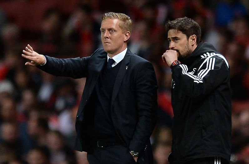 Swansea City Manager Gary Monk points instructions to his side during the Barclays Premier League match between Arsenal and Swansea City at the Emirates Stadium, London Picture by Richard Blaxall/Focus Images Ltd +44 7853 364624 11/05/2015