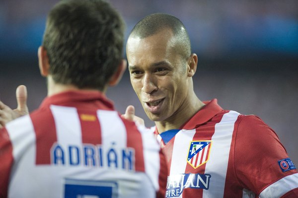 Miranda and Adrian of Athletico Madrid celebrating the 1-0 during the UEFA Champions League match at Vicente Calderón Stadium, Madrid Picture by Marcos Calvo Mesa/Focus Images Ltd +34 654142934 09/04/2014