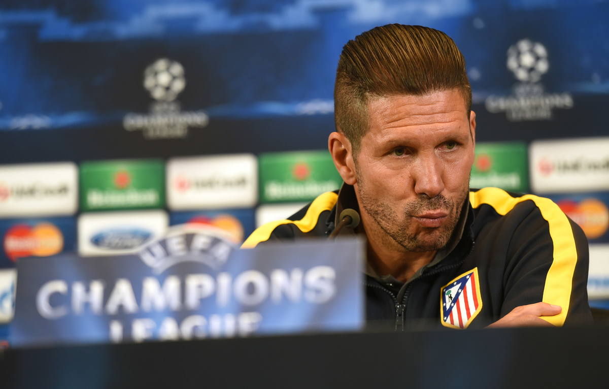 Manager of Atletico Madrid Diego Simeone pictured during a press conference at Vicente Calderón Stadium, Madrid Picture by Andrew Timms/Focus Images Ltd +44 7917 236526 21/04/2014
