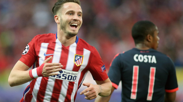 Atletico de Madrid's Saul Niguez celebrates his team's first goal during the UEFA Champions League semi Final, 1st Leg match between Atletico Madrid and FC Bayern Munich at the Estadio Vicente Calderon in Madrid, Spain on 2016/04/27. Picture by EXPA Pictures/Focus Images Ltd 07814482222 27/04/2016 ***UK & IRELAND ONLY***