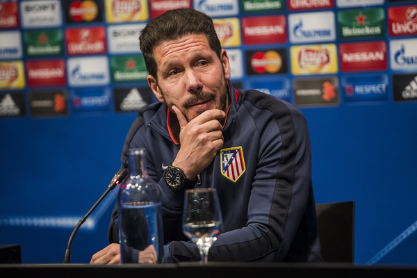 Atletico de Madrid head coach Diego Simeone and defender Diego Godin during a press conference at Camp Nou, Barcelona Picture by Luis Tato/Focus Images Ltd (+34) 661 459 33 04/04/2016