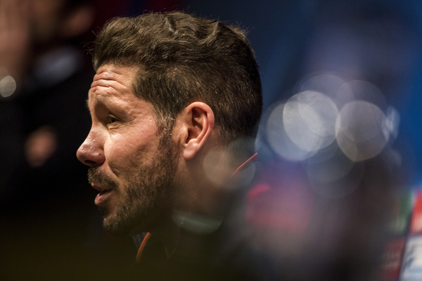 Atletico Madrid head coach Diego Simeone and defender Diego Godin during a press conference at Camp Nou, Barcelona Picture by Luis Tato/Focus Images Ltd (+34) 661 459 33 04/04/2016