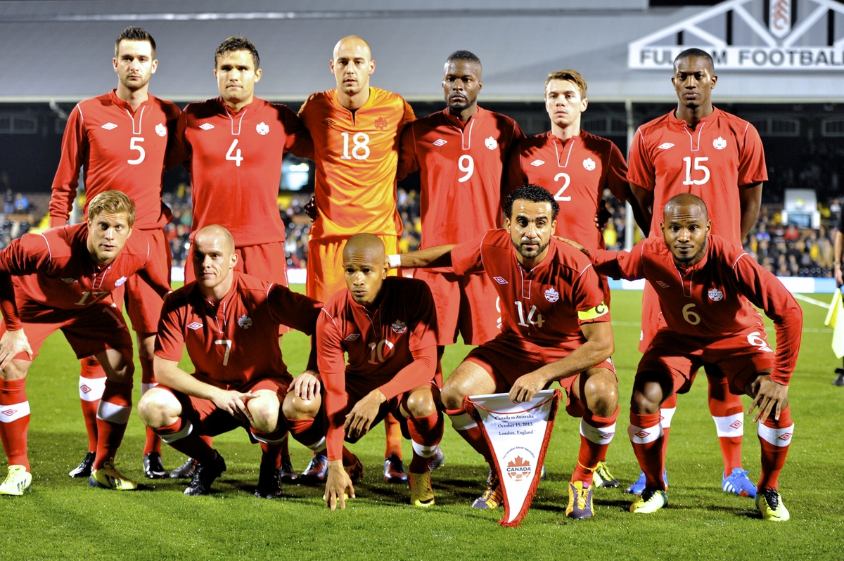 Picture by Alan Stanford/Focus Images Ltd +44 7915 056117 15/10/2013 The Canadian team line up before the International Friendly match at Craven Cottage, London.