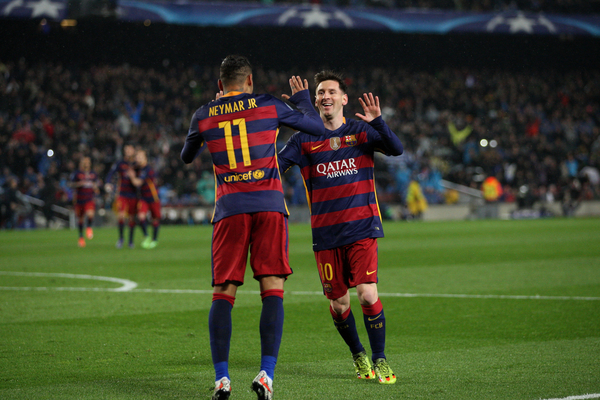 Lionel Messi and Neymar of FC Barcelona celebrate the opening goal during the UEFA Champions League match at Camp Nou, Barcelona Picture by Yannis Halas/Focus Images Ltd +353 (87) 258201 16/03/2016