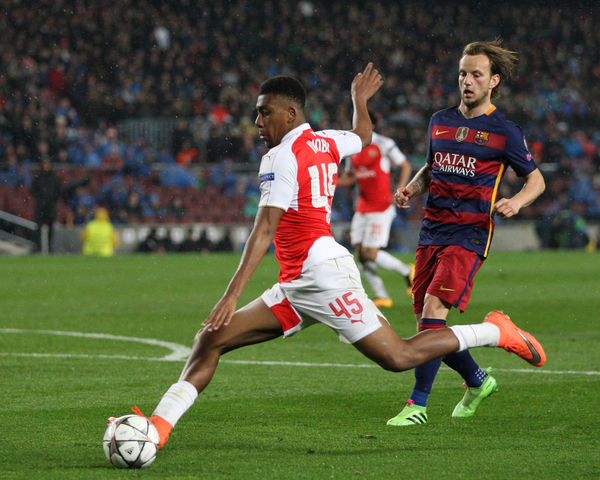 Alex Iwobi of Arsenal during the UEFA Champions League match at Camp Nou, Barcelona Picture by Yannis Halas/Focus Images Ltd +353 (87) 258201 16/03/2016