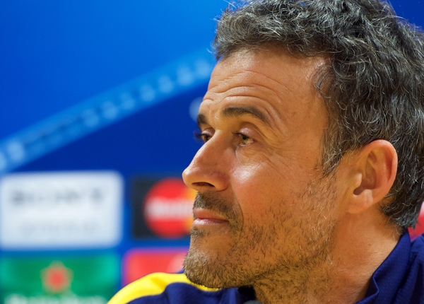 Manager Luis Enrique of Barcelona during the Barcelona press conference at the Emirates Stadium, prior to their Champions League match against Arsenal tomorrow. London, England.  Picture by Alan Stanford/Focus Images Ltd +44 7915 056117 22/02/2016