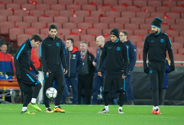 (left to right) Lionel Messi, Luis Suarez, Neymar and Gerard Pique during the Barcelona training session at the Emirates Stadium, prior to their Champions League match against Arsenal tomorrow. London, England. Picture by Alan Stanford/Focus Images Ltd +44 7915 056117 22/02/2016