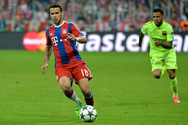 Juan Bernat of Bayern Munich during the UEFA Champions League semi-final match at Allianz Arena, Munich Picture by Ian Wadkins/Focus Images Ltd +44 7877 568959 12/05/2015