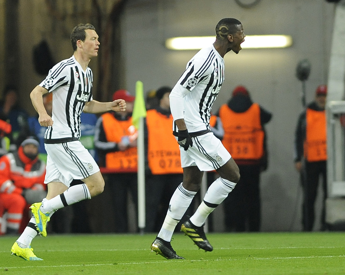 Paul Pogba of Juventus celebrates scoring their first goal during the UEFA Champions League match at Allianz Arena, Munich Picture by Stefano Gnech/Focus Images Ltd +39 333 1641678 16/03/2016