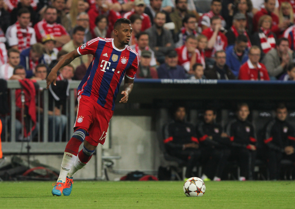 Jérôme Boateng of Bayern Munich in possession of the ball during the UEFA Champions League match at Allianz Arena, Munich Picture by Tom Smith/Focus Images Ltd 07545141164 17/09/2014
