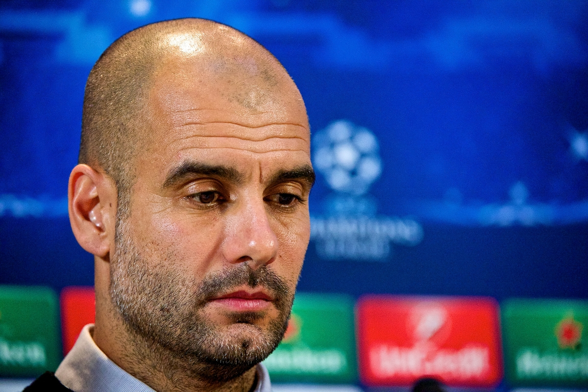 Bayern Munich manager Pep Guardiola at the press conference ahead of the UEFA Champions League match v Manchester City FC at the Lowry Hotel, Manchester Picture by Ian Wadkins/Focus Images Ltd +44 7877 568959 24/11/2014
