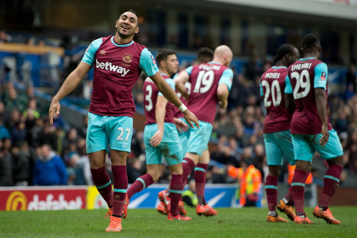 Dimitri Payet of West Ham United (left) celebrates after scoring his team's 5th goal to make it 5-1 during the FA Cup match at Ewood Park, Blackburn Picture by Russell Hart/Focus Images Ltd 07791 688 420 21/02/2016