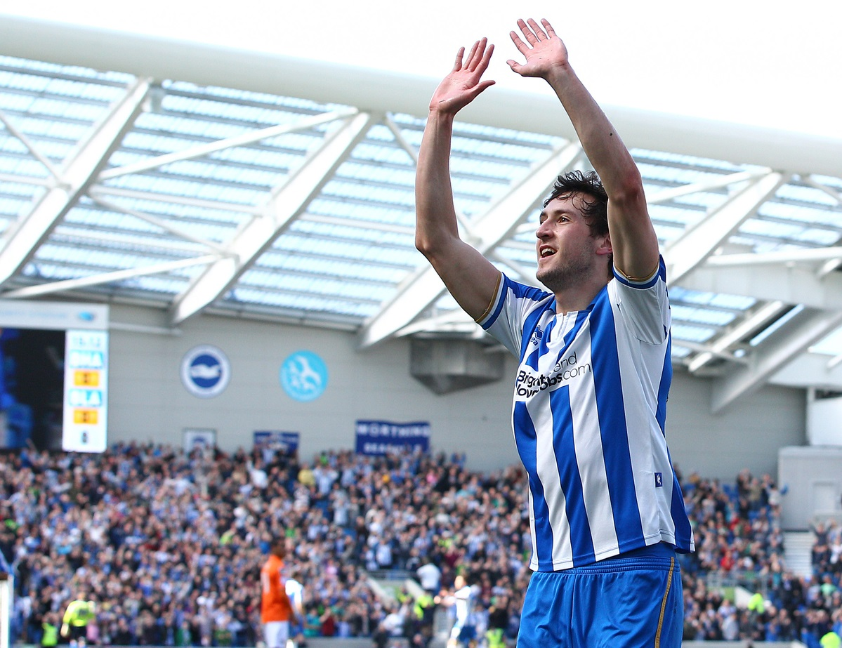 Picture by Paul Terry/Focus Images Ltd +44 7545 642257.20/04/2013.Will Buckley of Brighton and Hove Albion celebrates scoring the opening goal during the npower Championship match at the American Express Community Stadium, Brighton and Hove.