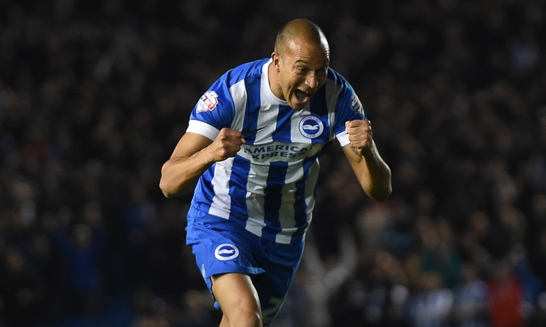 Brighton and Hove Albion's Bobby Zamora celebrates scoring their second goal during the Sky Bet Championship match at the American Express Community Stadium, Brighton and Hove Picture by Daniel Hambury/Focus Images Ltd +44 7813 022858 20/10/2015