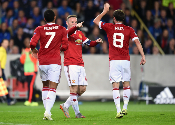 Wayne Rooney of Manchester United celebrates scoring their third goal with team mates during the UEFA Champions League match against Club Brugge to complete his hat trick at Jan Breydel Stadium, Sint-Andries Picture by Andrew Timms/Focus Images Ltd +44 7917 236526 26/08/2015