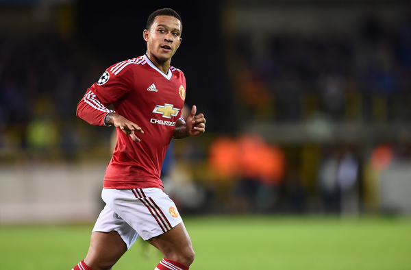 Memphis Depay of Manchester United during the UEFA Champions League match against Club Brugge at Jan Breydel Stadium, Sint-Andries Picture by Andrew Timms/Focus Images Ltd +44 7917 236526 26/08/2015