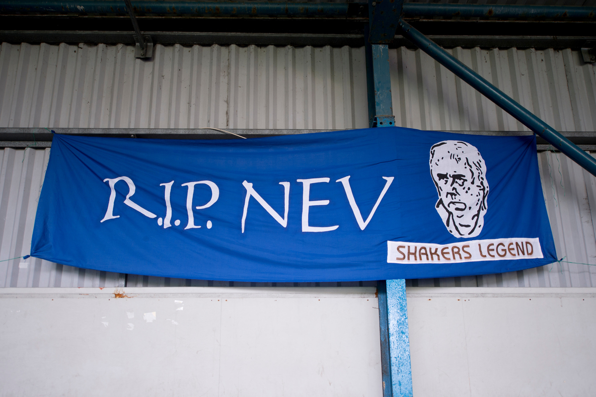 A flag commemorating the late Neville Neville, a former director of Bury, before the Sky Bet League 1 match at Gigg Lane, Bury Picture by Russell Hart/Focus Images Ltd 07791 688 420 21/11/2015