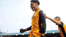 Chuba Akpom of Hull City celebrates after scoring his team's 2nd goal to make it 2-0 during the FA Cup match at Gigg Lane, Bury Picture by Russell Hart/Focus Images Ltd 07791 688 420 30/01/2016