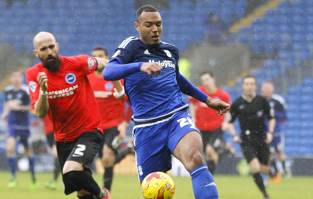 Kenneth Zohore of Cardiff City and Bruno Saltor of Brighton and Hove Albion during the Sky Bet Championship match at the Cardiff City Stadium, Cardiff Picture by Mike Griffiths/Focus Images Ltd +44 7766 223933 20/02/2016