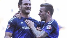 Sean Morrison (L) celebrates the second goal for Cardiff City against Charlton Athletic during the Sky Bet Championship match at the Cardiff City Stadium, Cardiff Picture by Mike Griffiths/Focus Images Ltd +44 7766 223933 26/09/2015