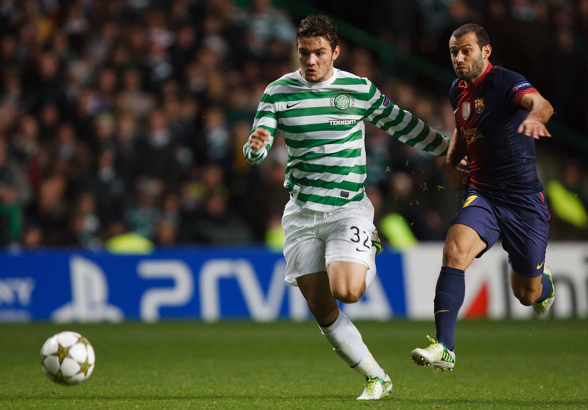 Picture by Chris Clark/Focus Images Ltd +44 7748 112188.07/11/2012.Tony Watt of Celtic and Javier Mascherano of FC Barcelona during the UEFA Champions League match at Celtic Park, Glasgow.