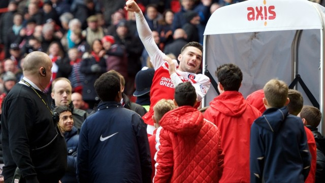 Tony Watt of Charlton Athletic who scored two of their three goals in their 3-0 win celebrates after the Sky Bet Championship match at The Valley, London Picture by Alan Stanford/Focus Images Ltd +44 7915 056117 28/02/2015