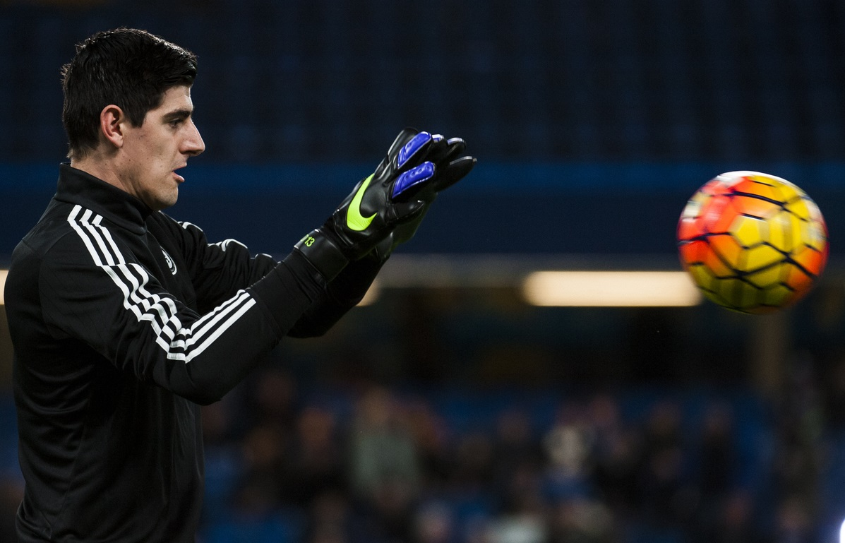 Thibaut Courtois of Chelsea warms up during the Barclays Premier League match at Stamford Bridge, London Picture by Jack Megaw/Focus Images Ltd +44 7481 764811 05/12/2015