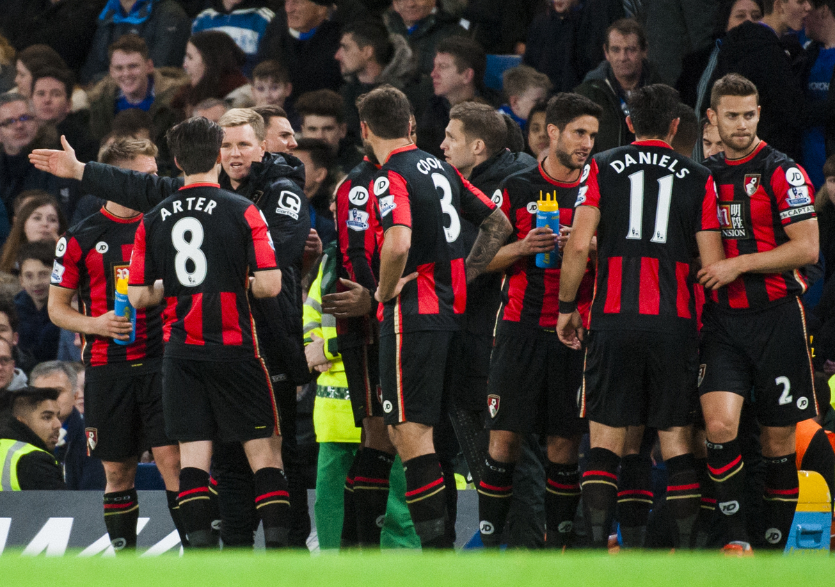 Harry After of AFC Bournemouth receives instructions from manager Eddie Howe during the Barclays Premier League match at Stamford Bridge, London Picture by Jack Megaw/Focus Images Ltd +44 7481 764811 05/12/2015