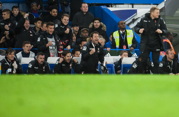 AFC Bournemouth manager Eddie Howe reacts at the final whistle during the Barclays Premier League match at Stamford Bridge, London Picture by Jack Megaw/Focus Images Ltd +44 7481 764811 05/12/2015