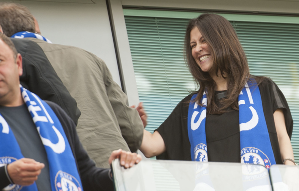 Chelsea director Marina Granovskaia congratulates Roman Abramovich after Chelsea clinch the league following the Barclays Premier League match at Stamford Bridge, London Picture by Jack Megaw/Focus Images Ltd +44 7481 764811 03/05/2015
