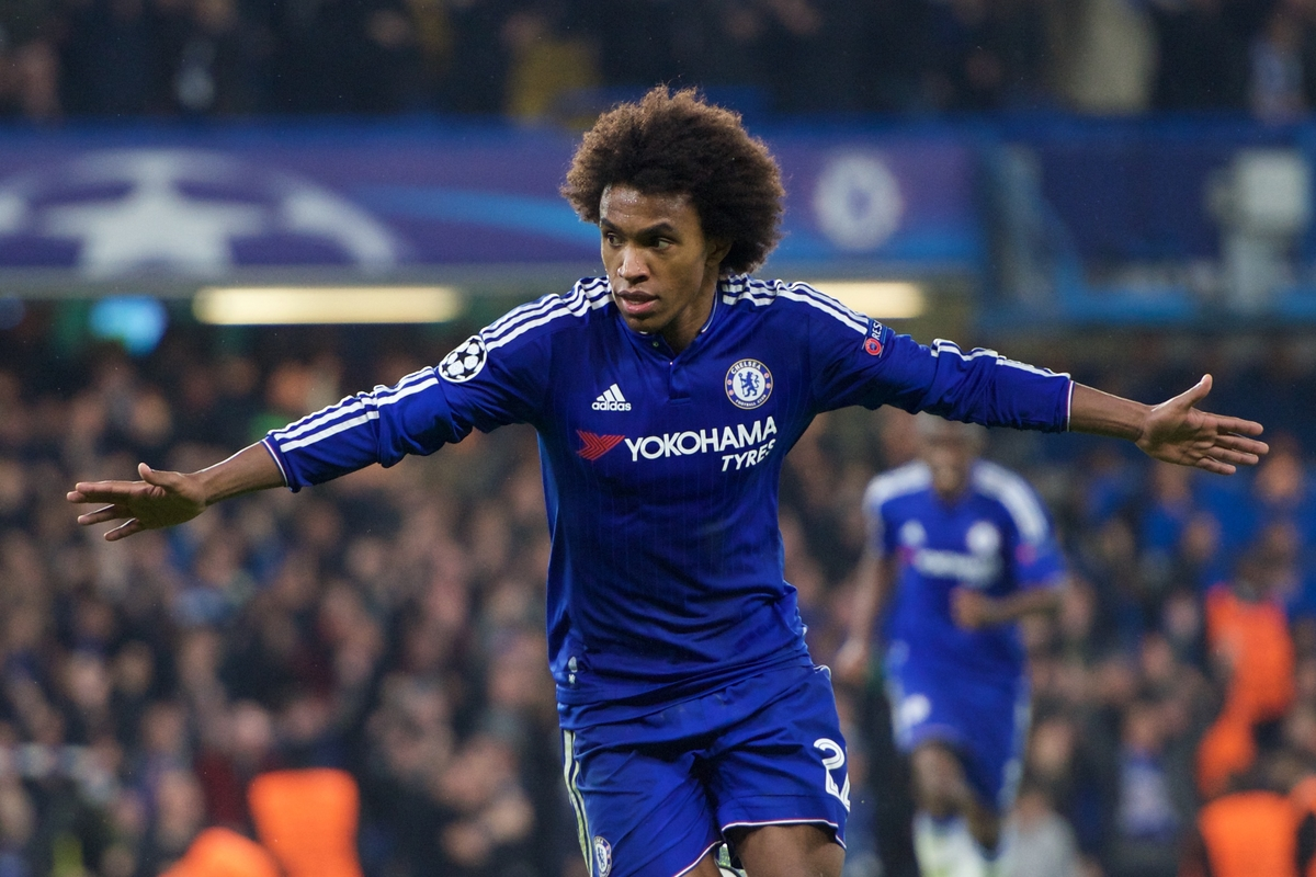 Willian of Chelsea celebrates after scoring to make it 2-1 during the UEFA Champions League match at Stamford Bridge, London Picture by Alan Stanford/Focus Images Ltd +44 7915 056117 04/11/2015