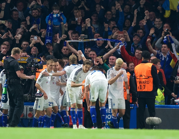 Dynamo Kyiv players celebrate after scoring the equaliser at 1-1 during the UEFA Champions League match at Stamford Bridge, London Picture by Alan Stanford/Focus Images Ltd +44 7915 056117 04/11/2015
