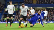 Phil Jagielka of Everton is tackled by Cesc Fabregas of Chelsea during the Barclays Premier League match at Stamford Bridge, London Picture by Alan Stanford/Focus Images Ltd +44 7915 056117 16/01/2016