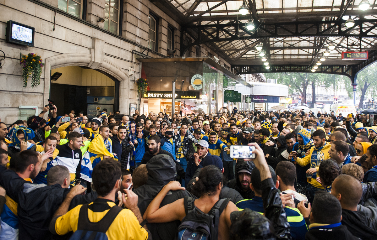 Maccabi Tel Aviv fans gather at Victoria Station before the UEFA Champions League match at Stamford Bridge, London.  Picture by Jack Megaw/Focus Images Ltd +44 7481 764811 16/09/2015