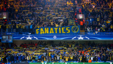 Maccabi Tel Aviv fans during the UEFA Champions League match at Stamford Bridge, London Picture by Jack Megaw/Focus Images Ltd +44 7481 764811 16/09/2015