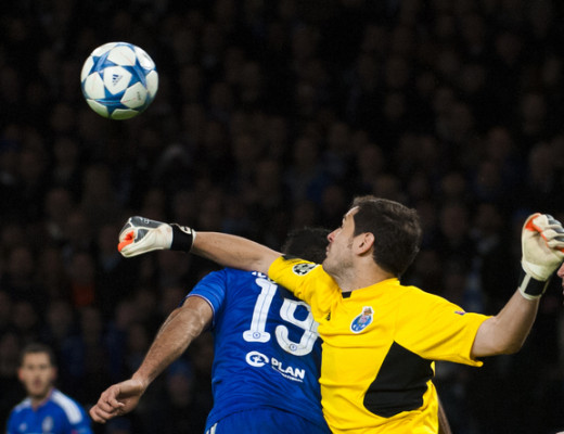 Iker Casillas of Porto punches the ball from the head of Diego Costa of Chelsea  during the UEFA Champions League match at Stamford Bridge, London Picture by Jack Megaw/Focus Images Ltd +44 7481 764811 09/12/2015