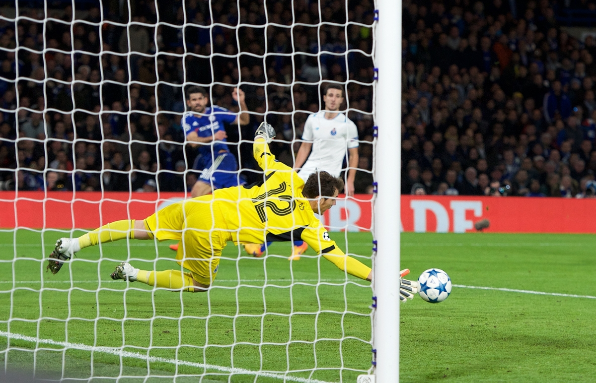 Diego Costa of Chelsea has his shot saved by goalkeeper Iker Casillas of FC Porto during the UEFA Champions League match at Stamford Bridge, London Picture by Alan Stanford/Focus Images Ltd +44 7915 056117 09/12/2015