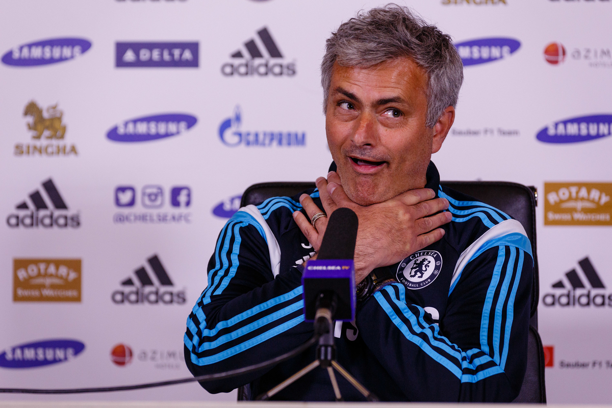 Jose Mourinho during the Chelsea Press Conference at their Training Ground prior to their Premiership match against Liverpool this weekend.  Cobham Picture by Mark Chappell/Focus Images Ltd +44 77927 63340 08/05/2015