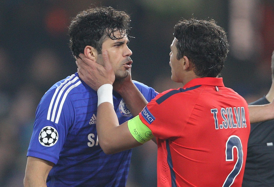 Thiago Silva of Paris Saint-Germain attempts to calm down a Diego Costa of Chelsea after a clash between team mates during the UEFA Champions League match at Stamford Bridge, London Picture by Paul Terry/Focus Images Ltd +44 7545 642257 11/03/2015