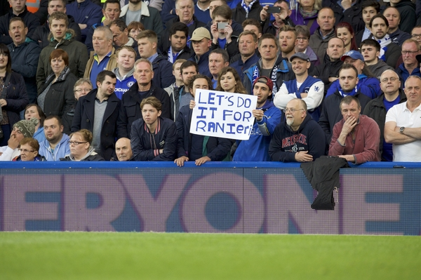 Chelsea fan holds up a banner for Claudio Ranieri of Leicester City during the Barclays Premier League match at Stamford Bridge, London, UK. Picture by Alan Stanford/Focus Images Ltd +44 7915 056117 02/05/2016