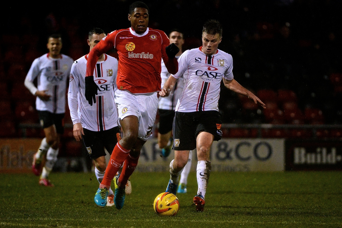Picture by Ian Wadkins/Focus Images Ltd +44 7877 568959 21/01/2014 Chuks Aneke of Crewe Alexandra during the Sky Bet League 1 match at Alexandra Stadium, Crewe.