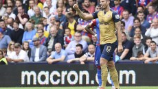Olivier Giroud of Arsenal celebrates scoring the opening goal during the Barclays Premier League match at Selhurst Park, London Picture by Alan Stanford/Focus Images Ltd +44 7915 056117 16/08/2015