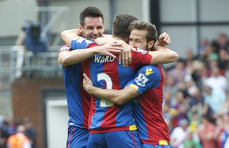 Joel Ward of Crystal Palace celebrates scoring the equaliser with Yohan Cabaye (left) and Scott Dann to make it 1-1 during the Barclays Premier League match at Selhurst Park, London Picture by Alan Stanford/Focus Images Ltd +44 7915 056117 16/08/2015