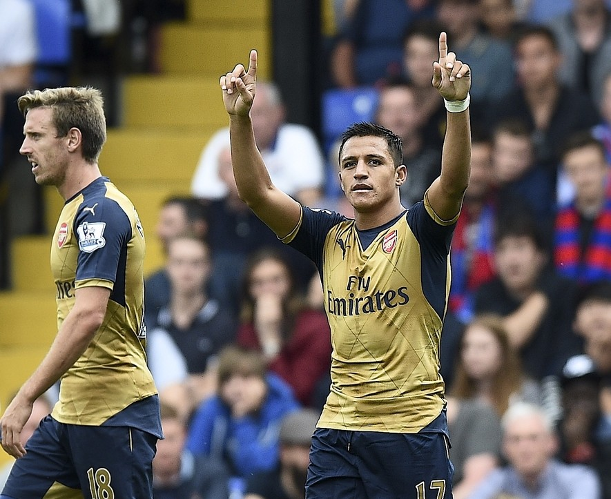 Alexis Sanchez (17) of Arsenal celebrates his goal to make it 1-2 during the Barclays Premier League match at Selhurst Park, London Picture by Alan Stanford/Focus Images Ltd +44 7915 056117 16/08/2015