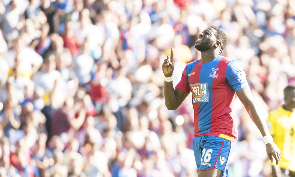 Bakary Sako of Crystal Palace celebrates after scoring on his debut during the Barclays Premier League match at Selhurst Park, London  Picture by Jack Megaw/Focus Images Ltd +44 7481 764811 22/08/2015