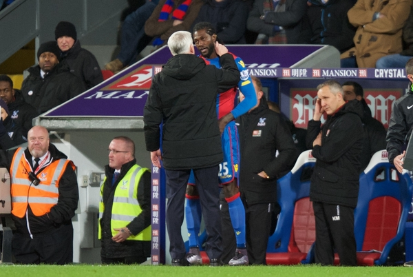 Manager Alan Pardew of Crystal Palace brings on Emmanuel Adebayor of Crystal Palace during the Barclays Premier League match at Selhurst Park, London Picture by Alan Stanford/Focus Images Ltd +44 7915 056117 02/02/2016