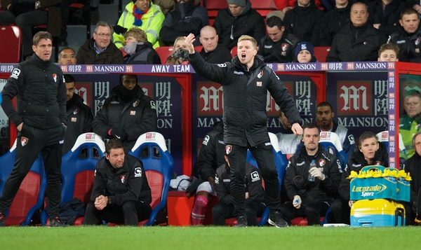 Manager Eddie Howe of Bournemouth during the Barclays Premier League match at Selhurst Park, London Picture by Alan Stanford/Focus Images Ltd +44 7915 056117 02/02/2016