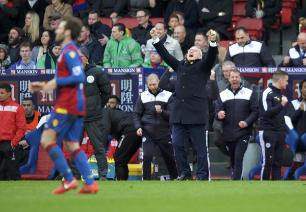 Manager Claudio Ranieri of Leicester City celebrates their win in the Barclays Premier League match at Selhurst Park, London Picture by Alan Stanford/Focus Images Ltd +44 7915 056117 19/03/2016