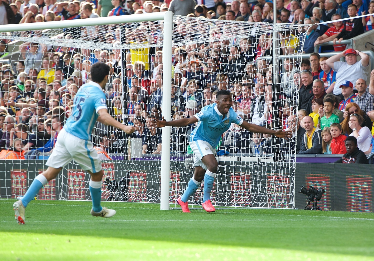 Kelechi Iheanacho (right) of Manchester City celebrates scoring the winning goal during the Barclays Premier League match at Selhurst Park, London Picture by Alan Stanford/Focus Images Ltd +44 7915 056117 12/09/2015